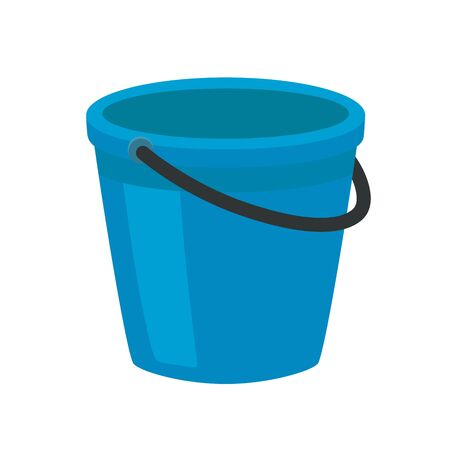Blue plastic bucket with a black handle. Isolated white background. A bucketful for washing food, water and drink. Household chores pail. Ilustracja