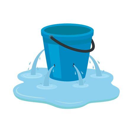 Seau qui fuit. Un seau bleu qui fuit dans une flaque d'eau. Illustration vectorielle isolée sur fond blanc.
