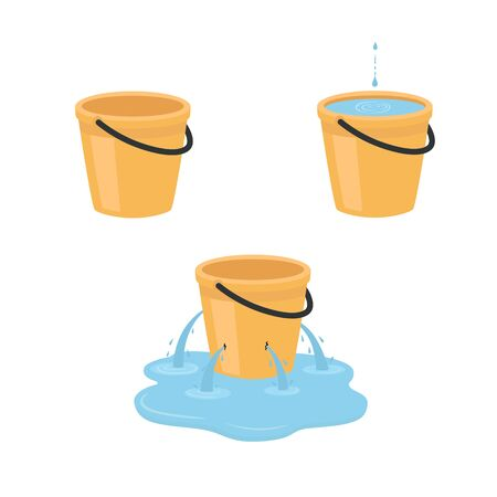 Empty, full, leaking bucket. Vector illustration isolated on white background. Ilustracja