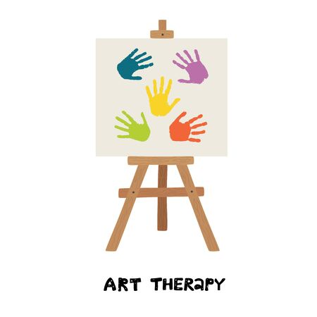 Easel with canvas painted with children handprints. Art therapy. Vector illustration isolated on white background. Illustration