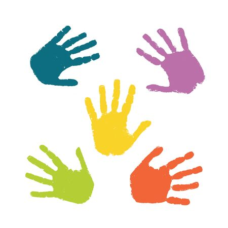 Set of colorful hand prints isolated on white background Ilustración de vector