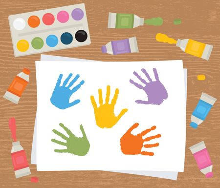 Paint tubes, palette, canvas with colorful handprints. Art therapy. Vector illustration. Illustration