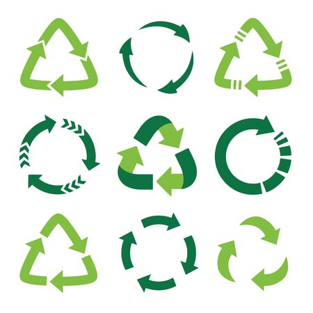 Recycling symbol of ecologically pure funds, set of green arrows Ilustracja