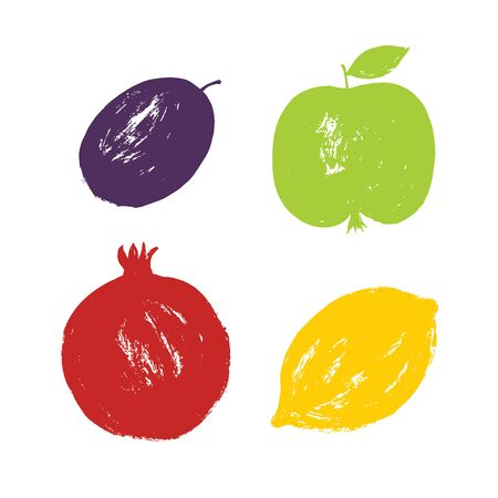 Brush simple stamp hand drawn textured fruits set