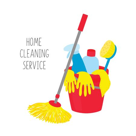 Cleaning service. House cleaning tools in bucket on white background. Ilustracja
