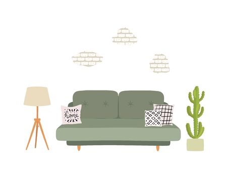 Living room interior with grey sofa, pillows, plant and torchere. Vector illustration isolated on white background.