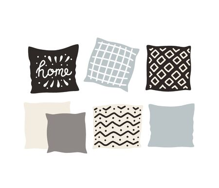 Set beautiful pillows. Hand drawn vector. Vector illustration isolated on white background. Ilustracja