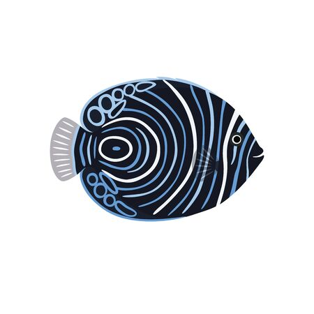 Fish is dark emperor angelfish. Vector illustration isolated on white background.