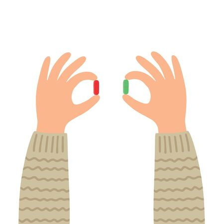 Hands with red and green pills. Choice metaphor.