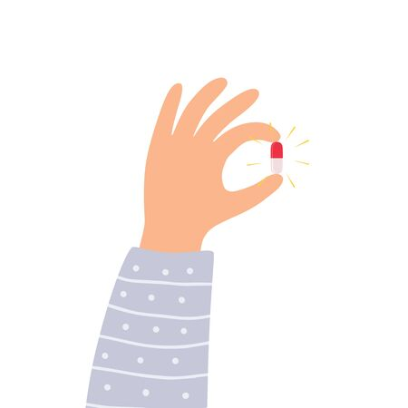 Hand holding the magic pill. Vector illustration.