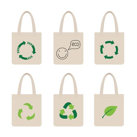 Set eco bags. Bag with recycling icon.