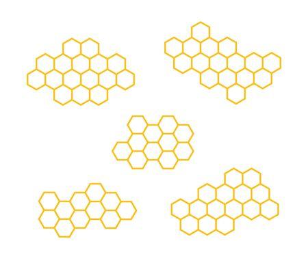 Set icons honeycomb. Vector illustration isolated on white background. Çizim