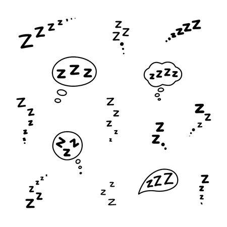 Set of zzz sleep icon. Hand drawn zzzz in speech bubble