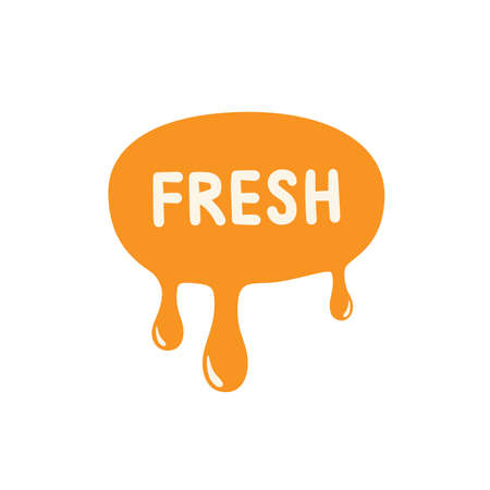 Fresh icon. Orange paint dripping. Vector illustration. Ilustracja
