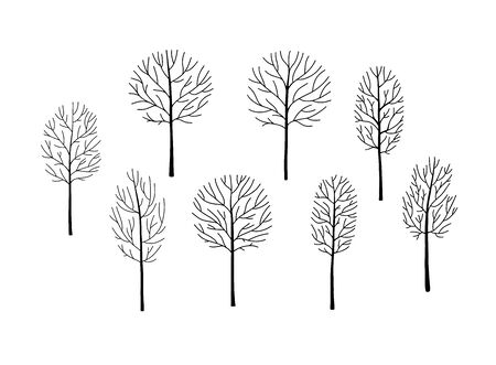 Naked trees silhouettes set. Hand drawn isolated illustrations Zdjęcie Seryjne - 149086681