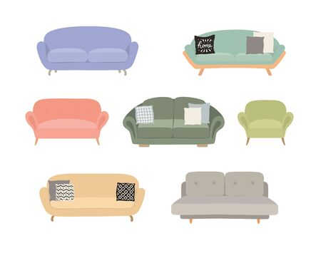 Sofa colored vector set. Comfortable couch collection isolated on white background for interior design.