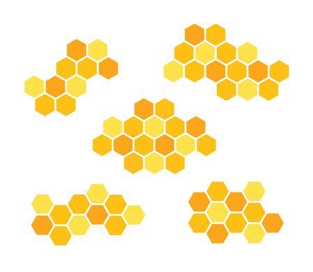 Set icons honeycomb. Vector illustration isolated on white background. Ilustracja