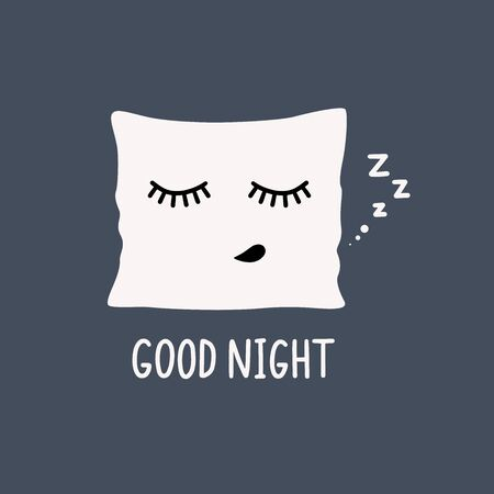 Cartoon funny pillow with closed lashes sleeping zzz. Hand drawn text good night. Vector illustration. Can be used for poster, postcard, pillow, bag, apparel design.