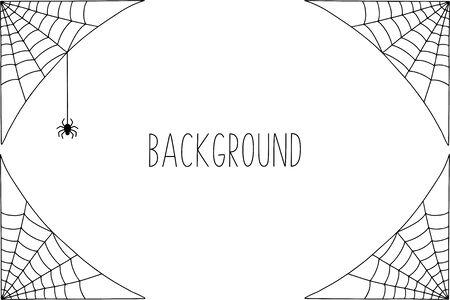Halloween background design with black spider and web Çizim