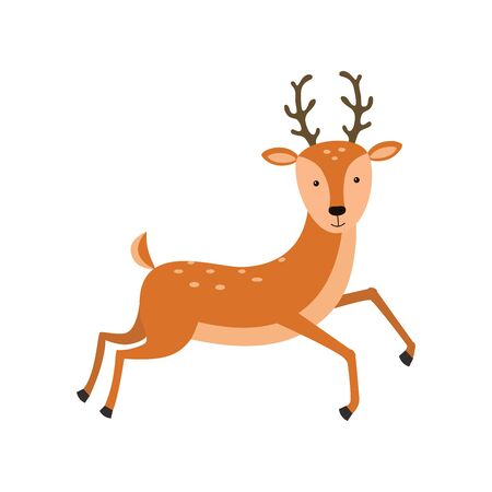 Cute deer cartoon vector illustration on white background Çizim