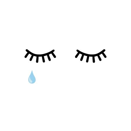 Lashes with tear vector illustration isolated on white background