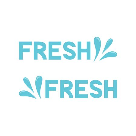 Fresh icon. Blue spray, water drop. Vector illustration. Çizim