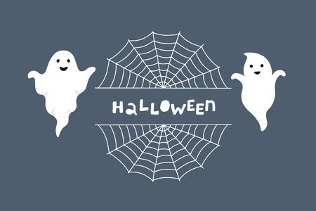 Halloween greeting card. Night background with ghosts and cobwebs. Vector illustration.