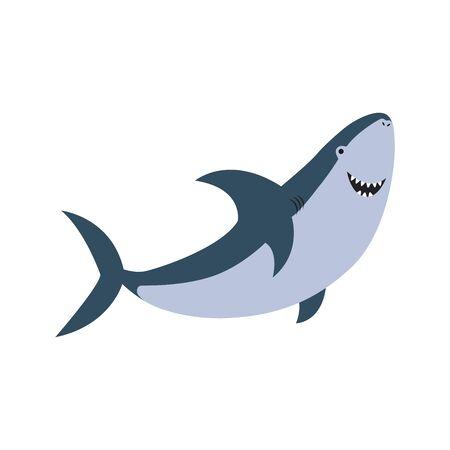 Cute flat shark. cartoon vector illustration isolated on white background. EPS10