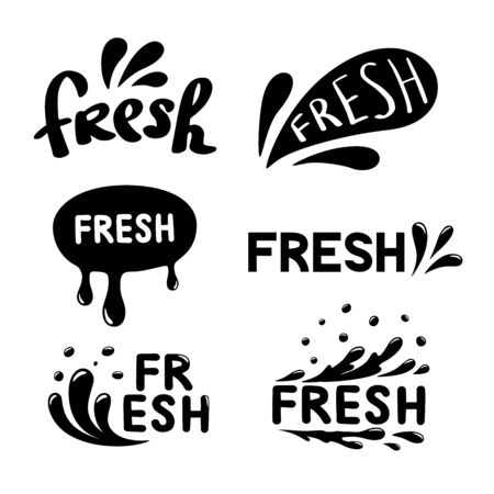 Set of abstract spray, water drop, Fresh icons. Vector illustration