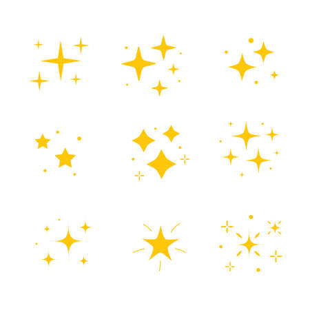 Icon bright twinkle. Sparkles icon set. Yellow gold star element, light. Vector illustration isolated on white background