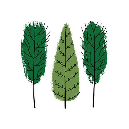 Art sketching set of vector trees symbols. Brushstroke green tree