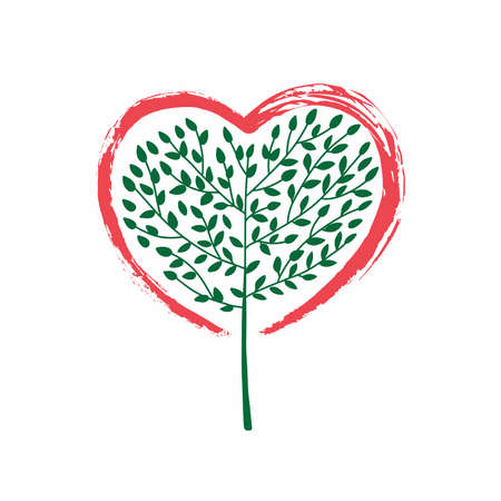 An abstract illustration of a tree growing in the shape of a heart concept design. Brush strokes in the shape of a heart. Vector