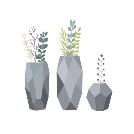 Set of flowers in vases. Stylish vase with plants. Vector illustration isolated on white background. 向量圖像