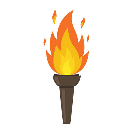 Torch isolated on white background. Fire. Symbol of games. Flaming figure. Vector illustration