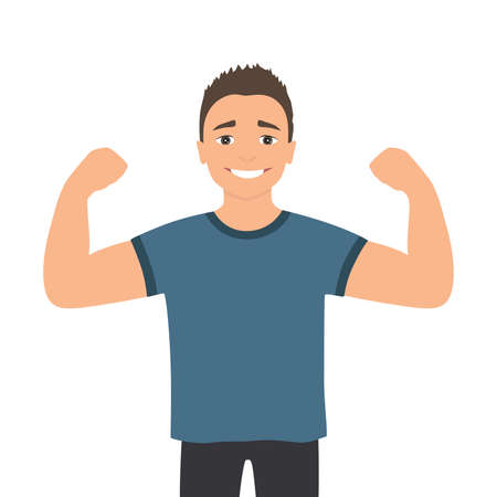 Cartoon muscular man. Funny athletic guy. Happy man proudly shows his muscles in strong arms. Ilustracja