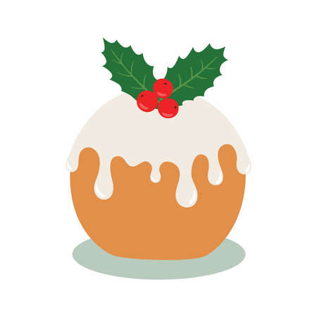 Christmas cake. Vector illustration isolated on white background.