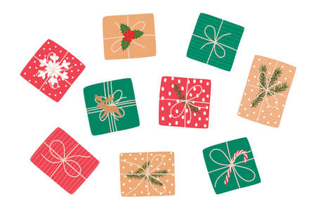 Set of Christmas gifts, top view. Vector illustration. Ilustracja