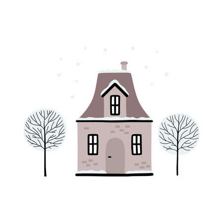 Cartoon Winter house. Vector image of a Christmas house and trees covered with snow.