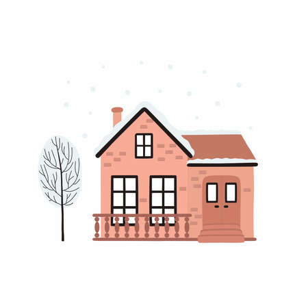 Cartoon Winter house. Vector image of a Christmas house and tree covered with snow. Ilustracja