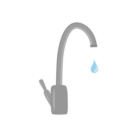 Water tap with drop. Save water. Vector illustration. Ilustracja
