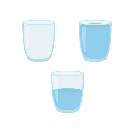 Empty, half and full water glass. Vector illustration. Ilustracja
