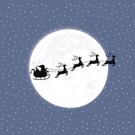 Santa with reindeer on the background of the moon and snow