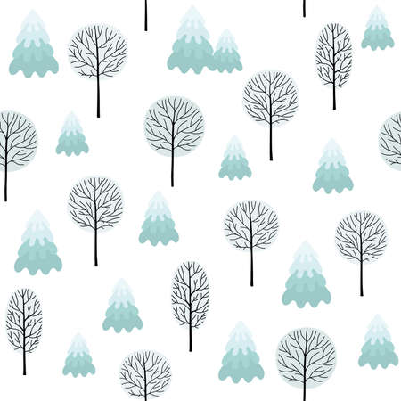 Winter forest background. Seamless pattern for winter and christmas theme. Ilustracja