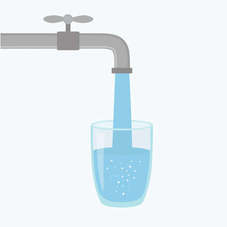 Cartoon vector illustration showing water coming out of a tap and into a glass