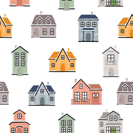 Seamless pattern with country houses. Vector illustration.