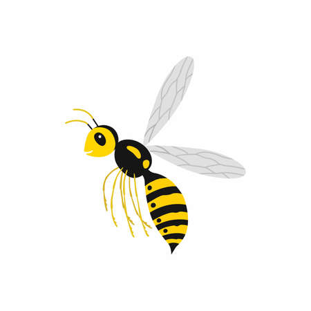 Wasp insect. Vector illustration Isolated on white background. Ilustracja