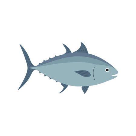 Tuna fish. Vector illustration isolated on white background.