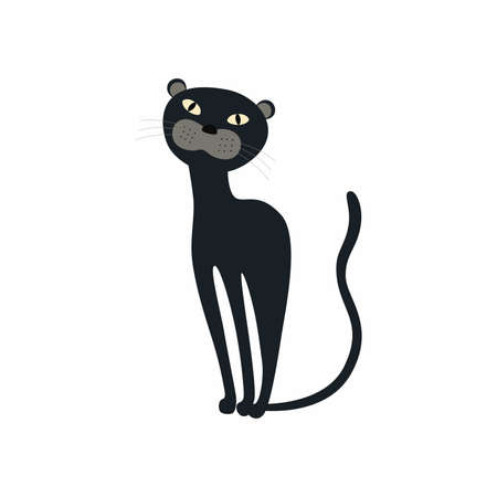 Cute Black Panther sitting. Vector illustration isolated.