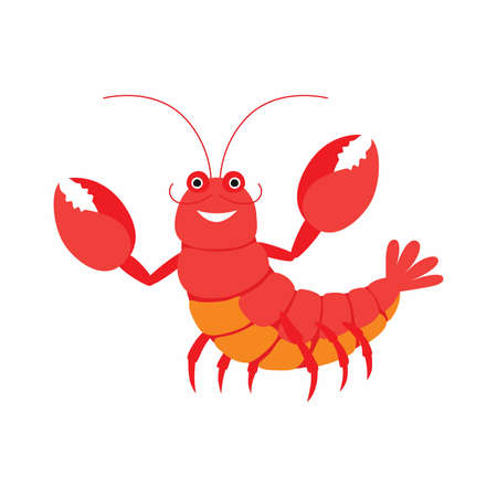 Cartoon lobster. Vector illustration isolated on white background. Ilustracja