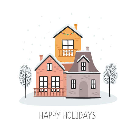Christmas card with houses vector illustration Ilustracja